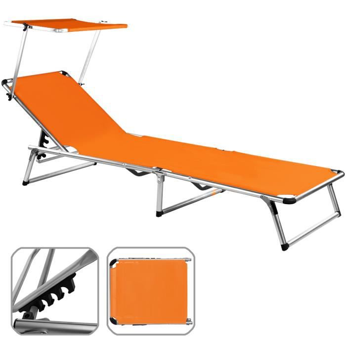chaise longue de jardin orange aluminium pliante achat. Black Bedroom Furniture Sets. Home Design Ideas