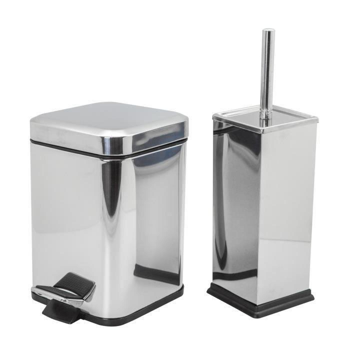 finition chrom/ée 3 L avec brosse pour les toilettes Poubelle de salle de bain /à p/édale