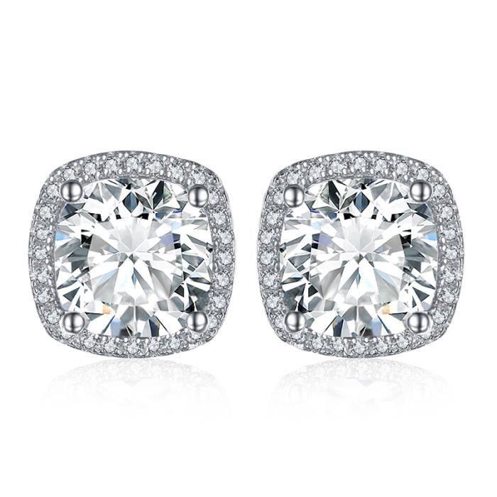 Argent sterling 925 Rond Diamant post Boucles d/'oreilles Clou