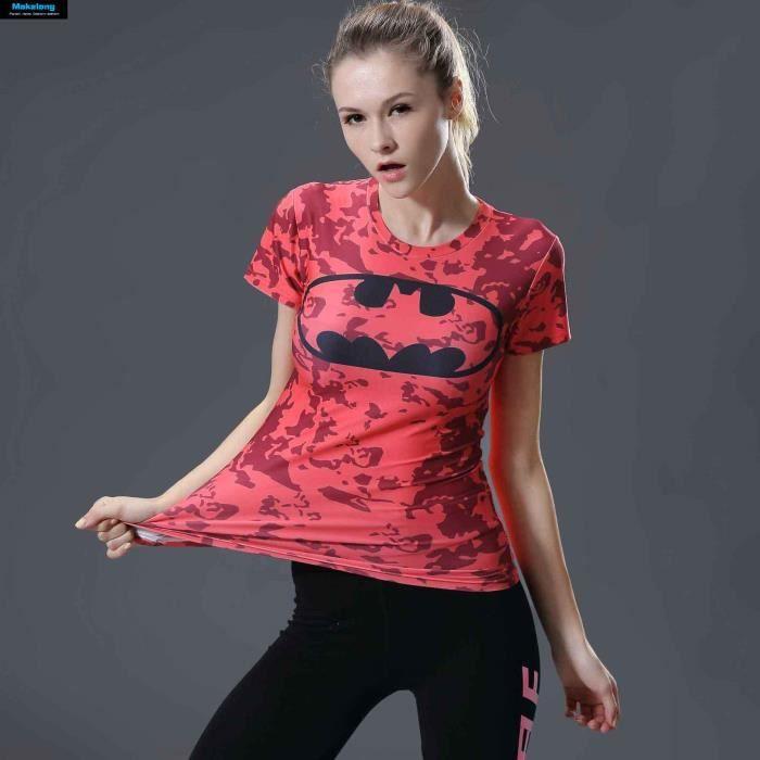 T-SHIRT Batman femmes T-Shirt 3D Compression Top sports Yo