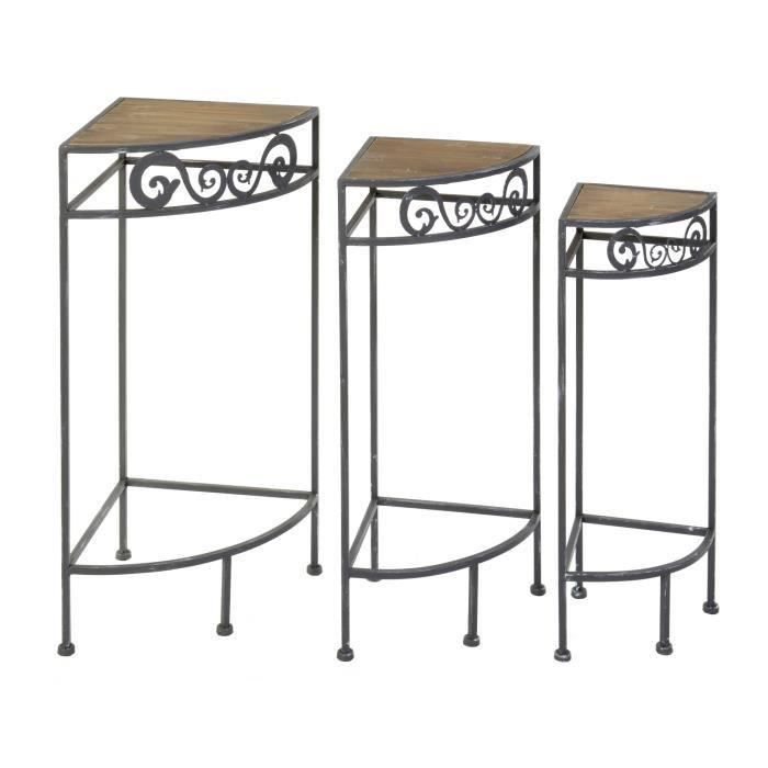 TABLE GIGOGNE Lot 3 Étagères d'angle gigognes en métal et bois M