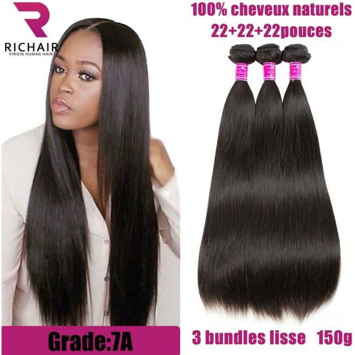 PERRUQUE - POSTICHE RICHAIR 3 Tissage Brésilien lisse virgin hair - 22