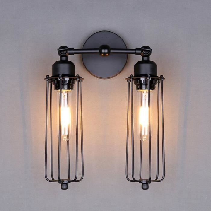 Applique murale industrielle Vintage Mini Cage Black Lamp Eclairage ...