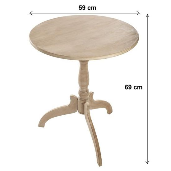 59 ronde Guéridon Beige cm Bois Diamètre Table Pk0Onw