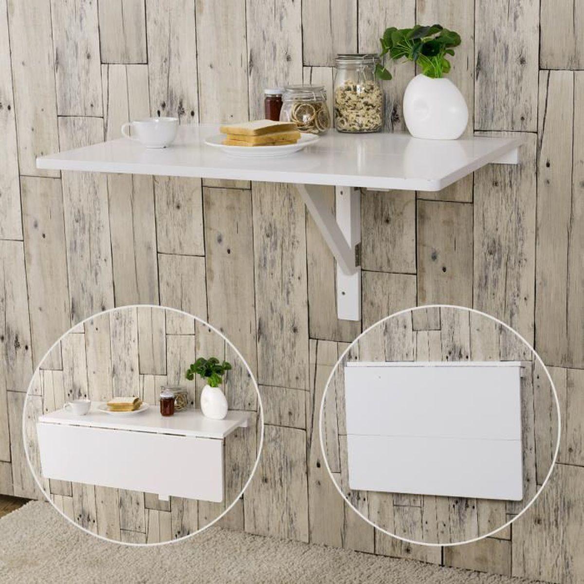 COSTWAY Table Murale Rabattable Table Murale Pliable Blanche en