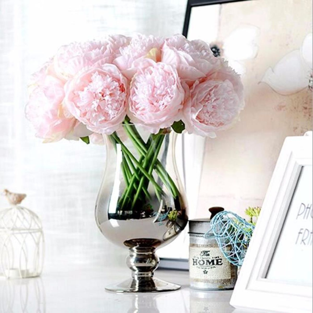 artificielle pivoine plante bouquet de fleur soie pr d cor salon jardin mariage rose clair. Black Bedroom Furniture Sets. Home Design Ideas