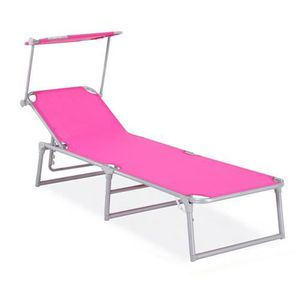 bain de soleil aluminium textil ne fuschia achat vente chaise longue bain de soleil. Black Bedroom Furniture Sets. Home Design Ideas