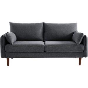 CANAPÉ - SOFA - DIVAN SOLVEIG Canapé droit 2/3 places - Tissu gris anthr