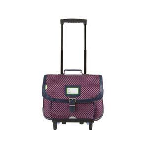 CARTABLE Tann's - Cartable à roulettes violet à pois 38cm C
