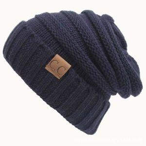 BONNET - CAGOULE Bonnet bleu marine Chapeau tricoté de de lettre de