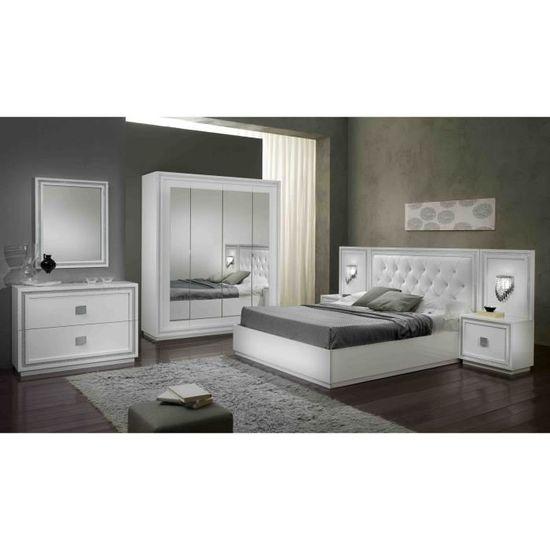 Chambre Adulte Complete Design Laquee Blanche Cristalline Blanc Achat Vente Chambre Complete Chambre Adulte Complete Cdiscount