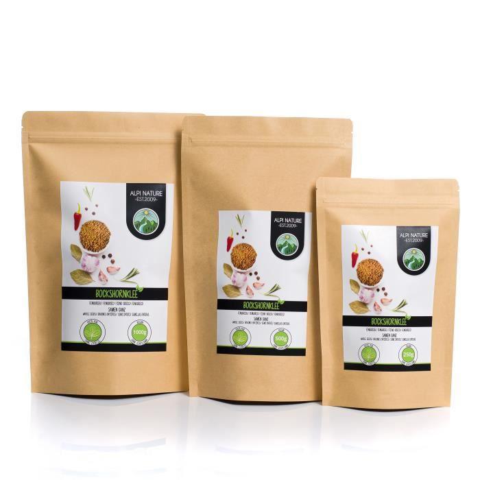 Graines de fenugrec entières (1kg), 100% naturelles, bien entendu sans additifs, végétaliennes