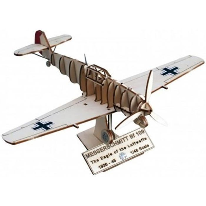 Maquette avion en bois Art & Wood : Messerschmitt BF 109 aille Unique Coloris Unique