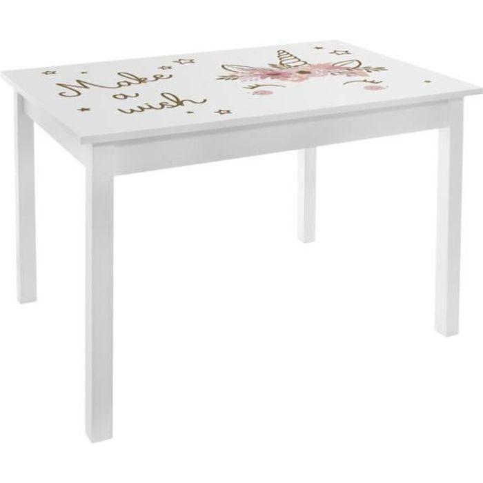 Atmosphera - Table en Bois H 48 cm pour chambre de fille Blanc