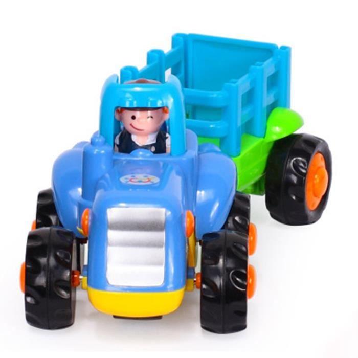 Tracteur avec Remorque Véhicule Jouet Enfant Bébé 0-2 Ans Cadeau Fête Noël 16.5*7*6.5cm