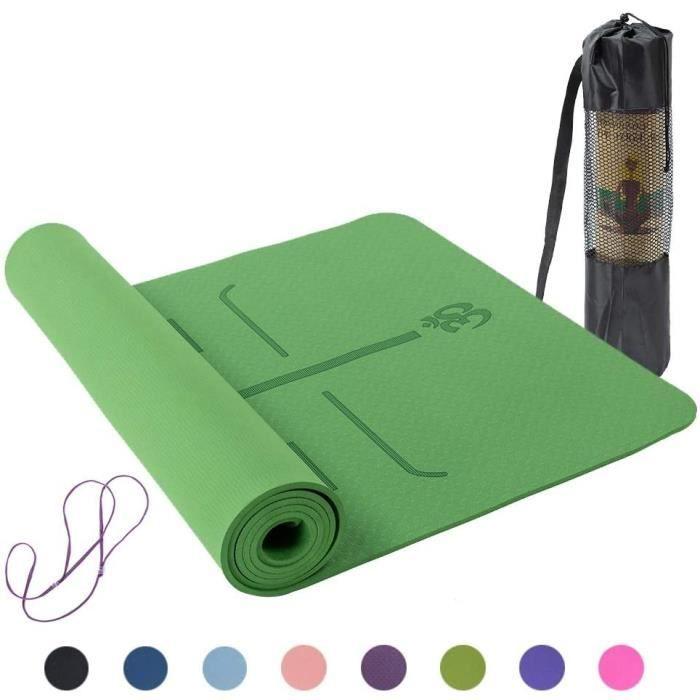 Tapis de Yoga antidérapants, TPE Pilates insipides Gym Exercise Sport Pads de Salon pour la Musculation183 * 61 * 0.6cm(Vert)