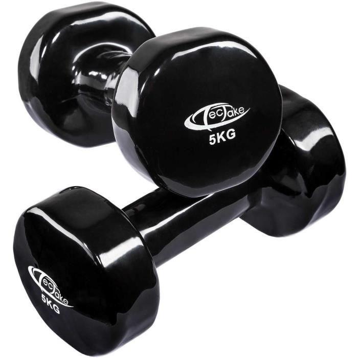 Ensemble 2x haltères en vinyle fitness poids aérobic musculation Gym yoga sport (5kg - noir)