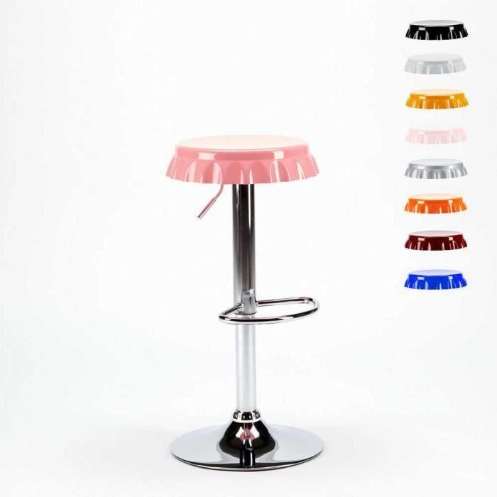 Tabouret haut bar et cuisine forme de capsule de bouteille design moderne DALLAS (Rose)