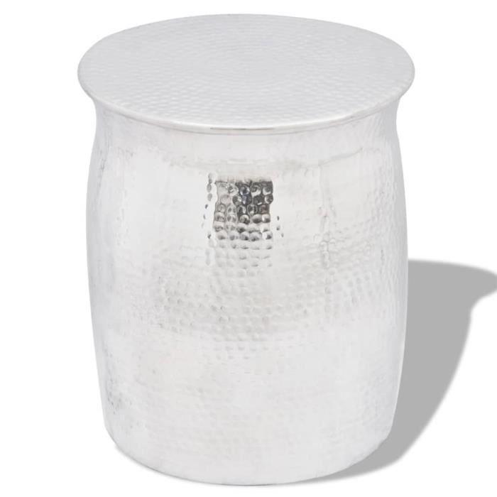 Table basse guéridon en aluminium Argenté--XIA