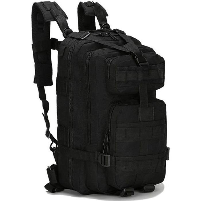 Sacs à Dos Militaires Tactiques de sac à dos extérieurs pour le camping faisant la randonnée et le trekking imperméable 25L - Noir