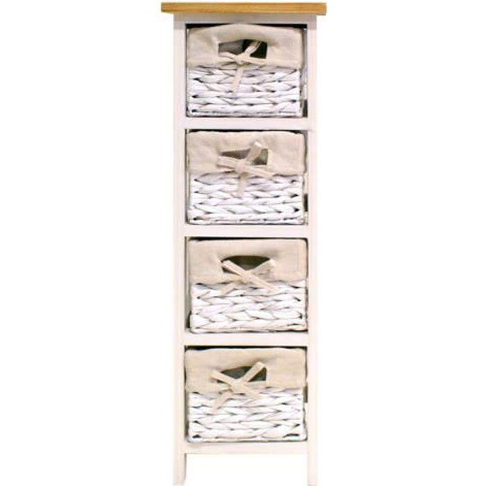VENEZIA Petit meuble de salle de bain L 24 cm - Laqué blanc brillant et bois