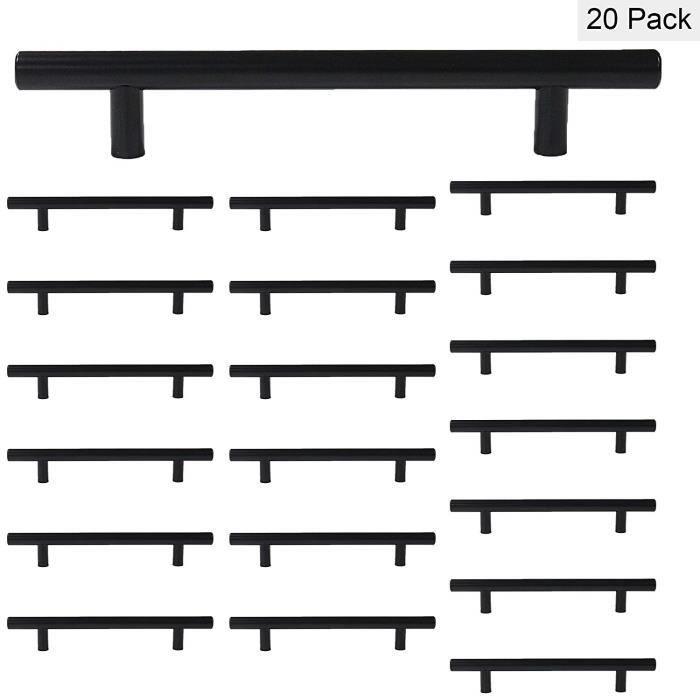 Lot de 20 Noir Armoire de cuisine de poignées de porte armoire tirer ls201bk Poignée barre T hohle Poignées pour Meubles en acier