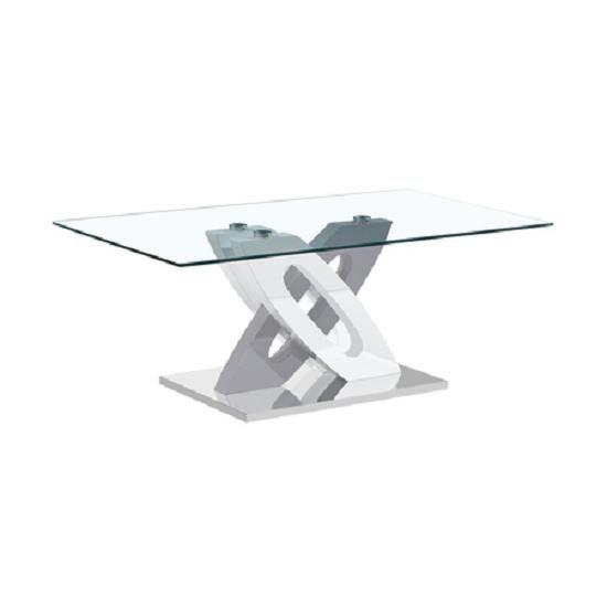 Table Basse Moderne et Design PISE Laqué Blanc et Gris