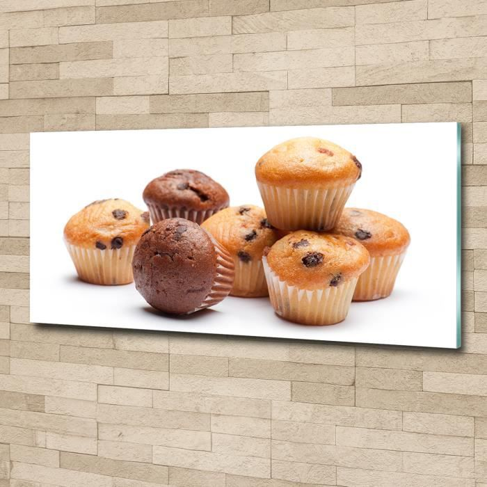 Tulup 125x50cm Tableau sur verre acrylique- Nourriture boissons - Muffins - Brun