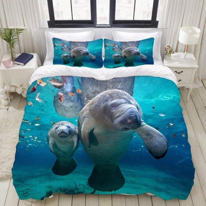 Housse de Couette-Deux véritables lamantins Mignons dans la mer avec de l'eau de mer Bleue et Propre 200x200cm[931]