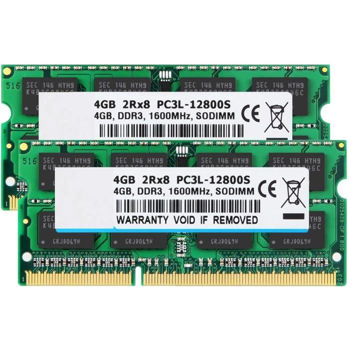 Kit mémoire de 8 Go (2 X 4 Go) 2Rx8 Pc3l 12800S Ddr3l 1600Mhz So Dimm 204 broches Cl11 1.35V 1.5v pour Pc portable Ram Module