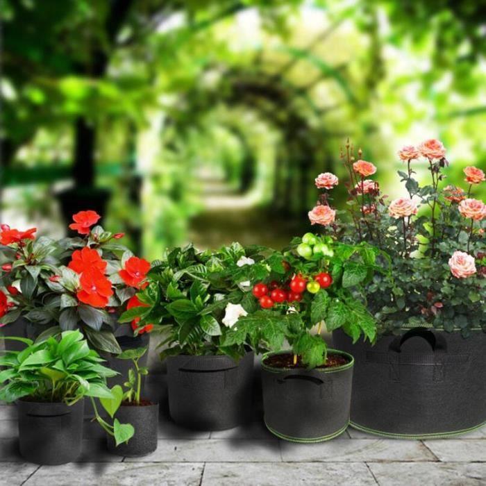 1-5-10 gallons arbres Pots plante cultiver sacs fournitures pour la maison tissu plantation outils de jardin - Type 10 gallon B