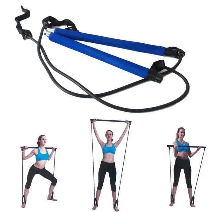 Portable Pilates Bar Gym Stick Stick Yoga Barre d\'exercice Pilates Trainer Fitness Rod avec boucle de pied