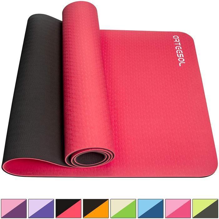 Tapis de yoga antidérapant sans substances nocives Pilates Fitness 183 cm x 61 cm x 6 mm