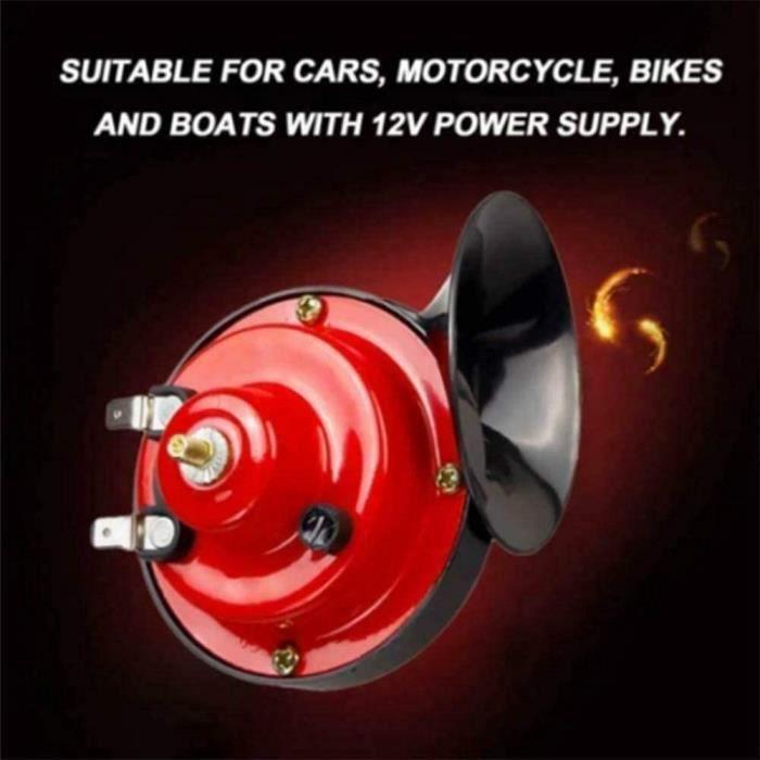 Klaxon de train 300 dB pour camions, chariots de golf universels 12 V Kit de klaxon électrique pour voitures, motos, vélos, bateaux