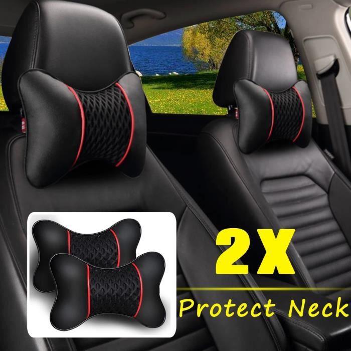 2 pièces d'oreiller de voiture en cuir PU tricoté, appui-tête, accessoires de siège, confort du conducteur et du passager