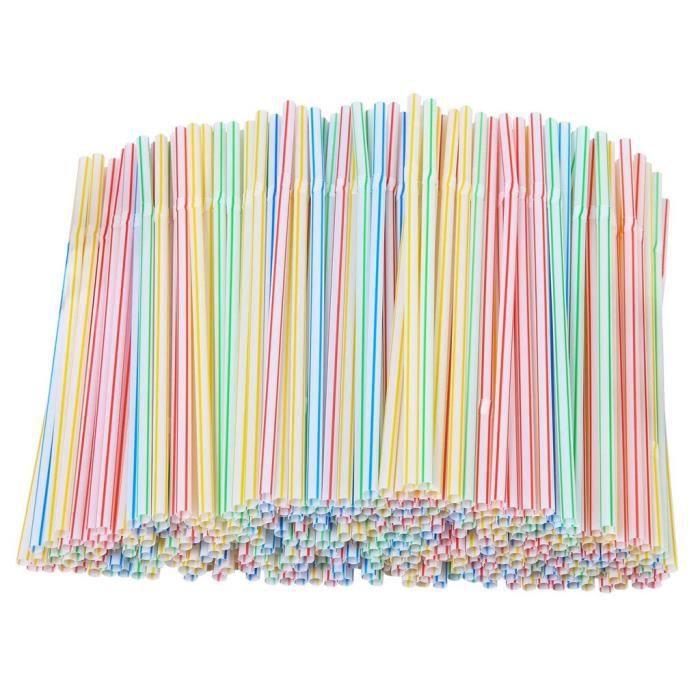 Accessoires bar,200 pailles jetables en plastique pailles en plastique flexibles rayé multicolore arc en ciel boire de la paille
