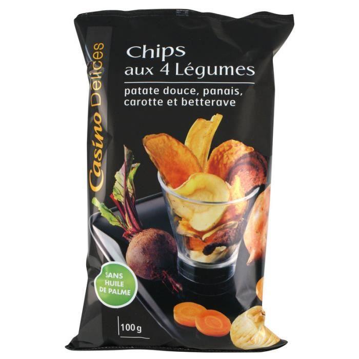 CASINO DELICES Chips aux 4 légumes - 100g