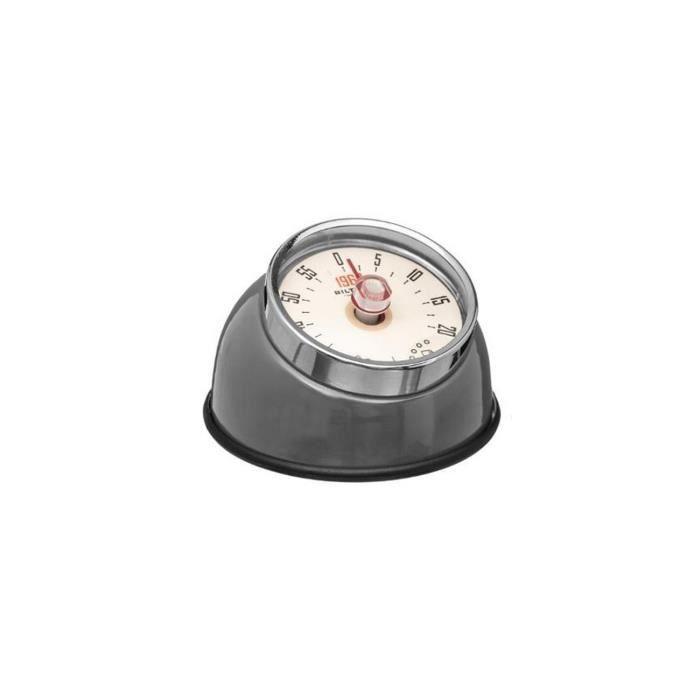 Minuteur RETRO COLORS magnétique acier inoxydable gris