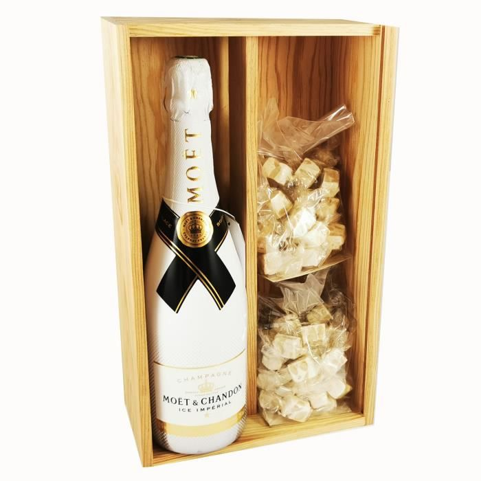 Champagne Moët & Chandon - Ice Imperial Brut & 2 * 150 grammes de nougadets blancs - Jonquier Deux Frères - En coffret bois