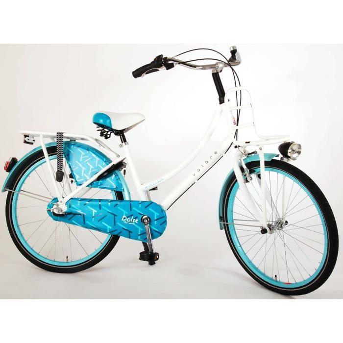 Vélo Enfant Fille 24 Pouces Dolce Frein Avant sur Le Guidon et Le Frein Arrière à Rétropédalage Shimano Nexus 3 Vitesses Blanc Bleu