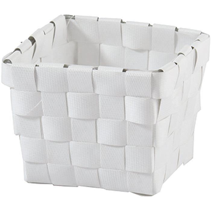 MSV Panier de rangement en polypropylène tressé - 10x7,5x10 cm - Blanc