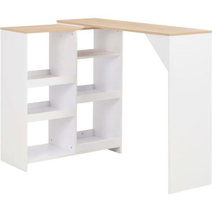 Haut qualité Table haute Table de bar avec tablette amovible Blanc 138 x 40 x 120 cm