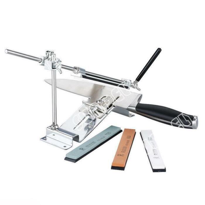 SUNDELY Système d'affûtage de haute qualité à angle fixe Affûteur de couteaux de style bord + 4 pierres 350542