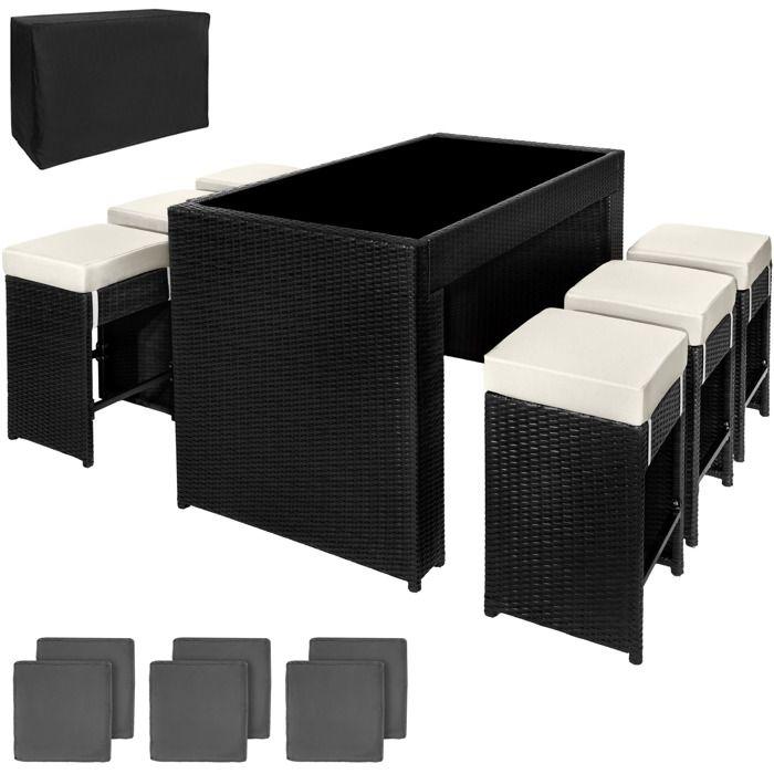 TECTAKE Salon de jardin CAPRI 6 places Tabourets de bar en Résine Tressée et Aluminium Noir + 2 Sets de housses
