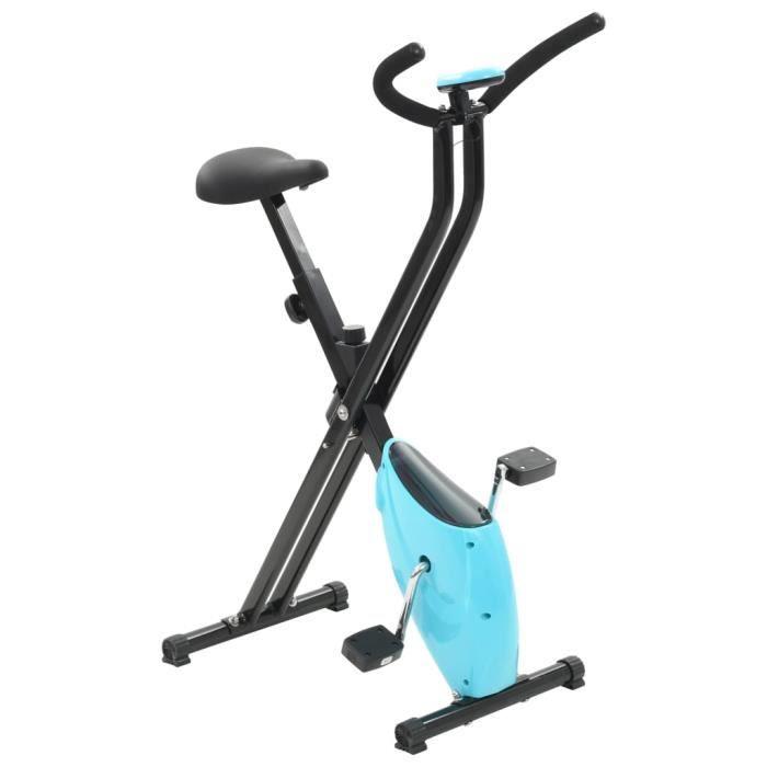 vidaXL Vélo d'appartement Résistance à courroie Bleu X-Bike-MEY