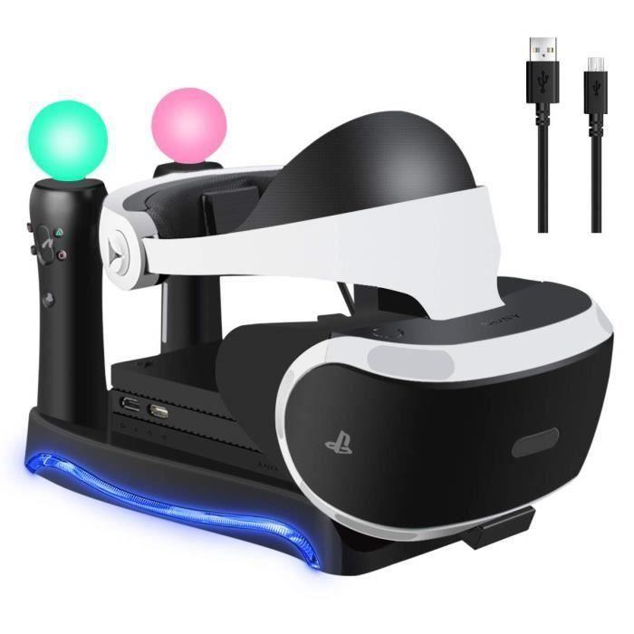 4 en 1 Psvr Présentoir de charge avec support pour casque de stockage Playstation Vr, Chargeur 2 contrôleurs Ps Move Station d'accue