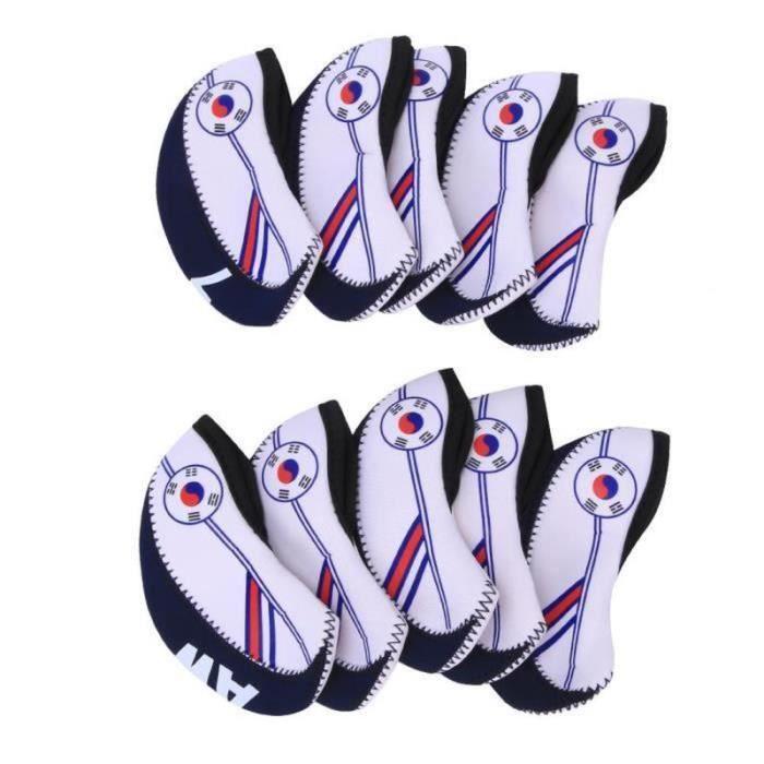 QN18880-couverture de club de fer de golf 10pcs couverture de tête de club de fer de golf en tissu portable avec accessoire de spo
