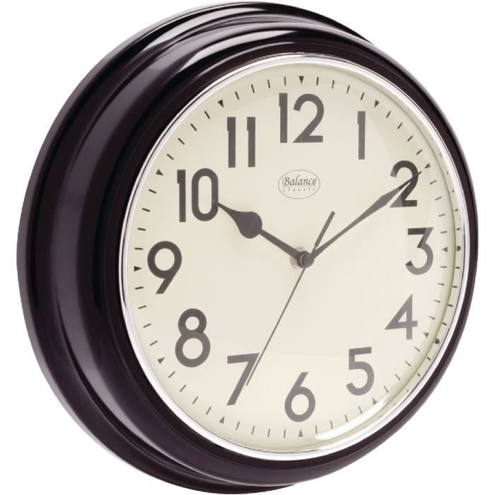 horloge pendule murale design retro marron a aiguilles 32cm grand format achat vente horloge. Black Bedroom Furniture Sets. Home Design Ideas