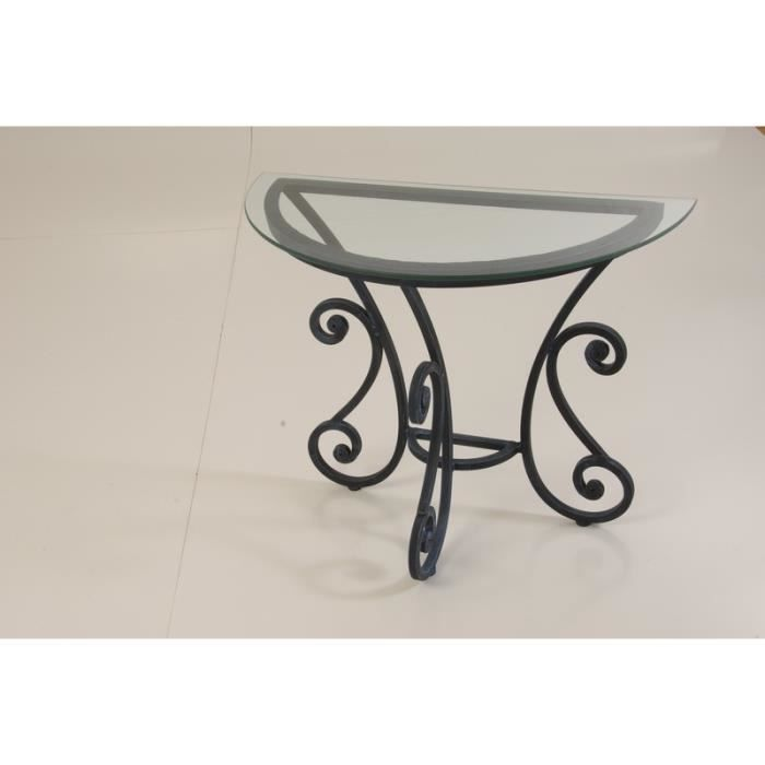 Console demi lune fer forg 90cm vogue meuble house for Console demi lune en fer forge