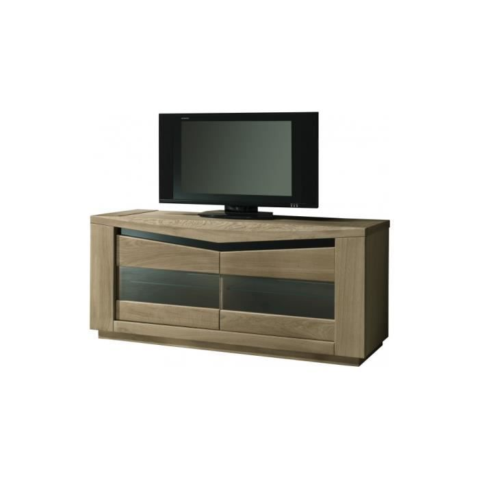 meuble tv ch ne taupe 2 portes vitr es 2 tag res verre d cor verre noir achat vente meuble. Black Bedroom Furniture Sets. Home Design Ideas